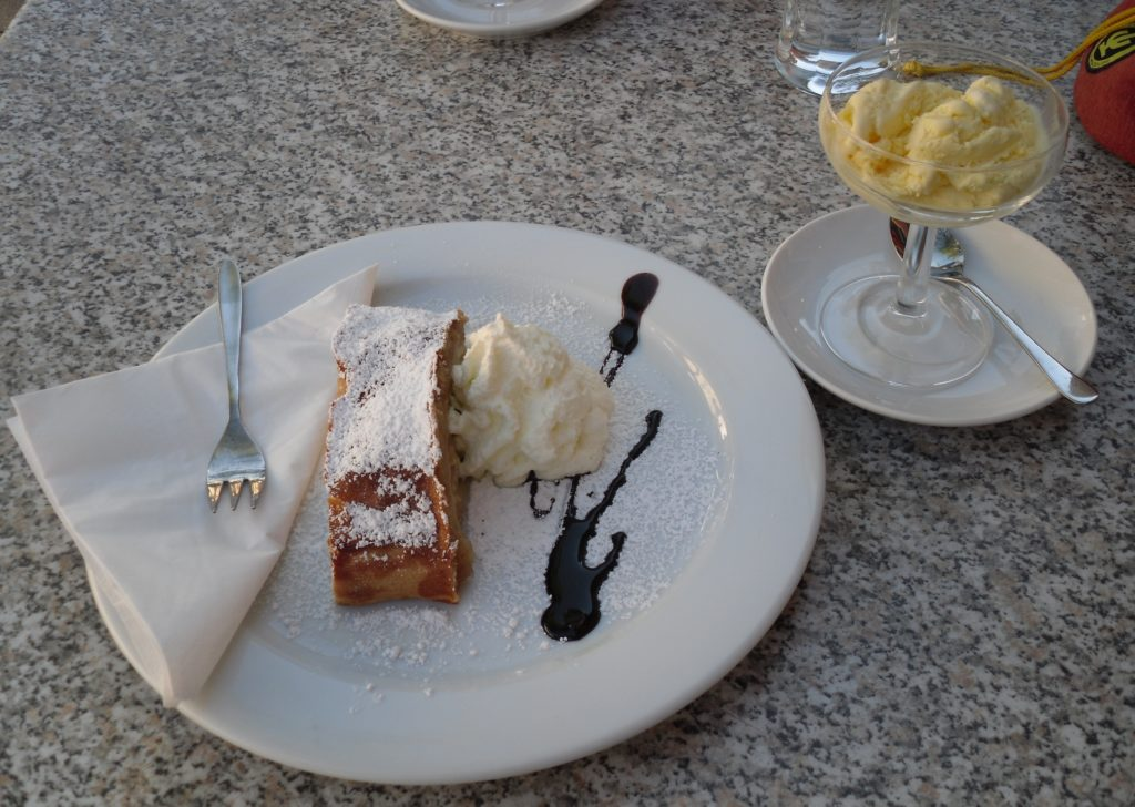 Apple Strudel and Ice Cream.
